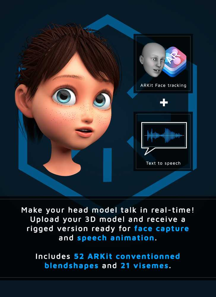 upload your 3D head model to receive a a rig of 52 arkit facial blendshapes and 21 visemes for real-time animation