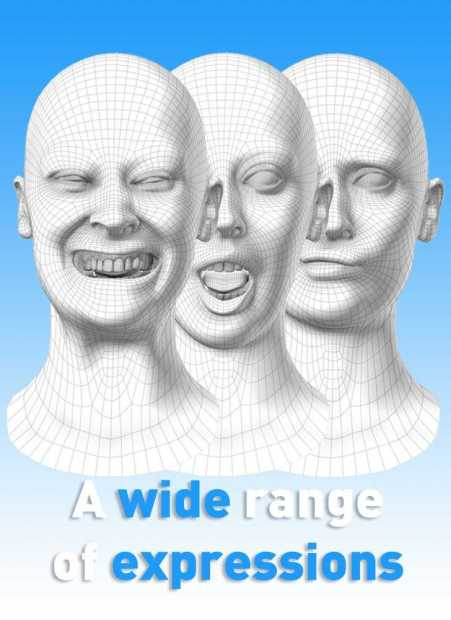 A wide range of 3D Facial Expressions Blendshapes