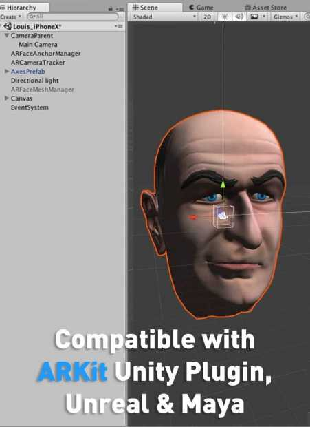 52 arkit blendshapes for 3D head model compatible with unity plugin, unreal engine and maya