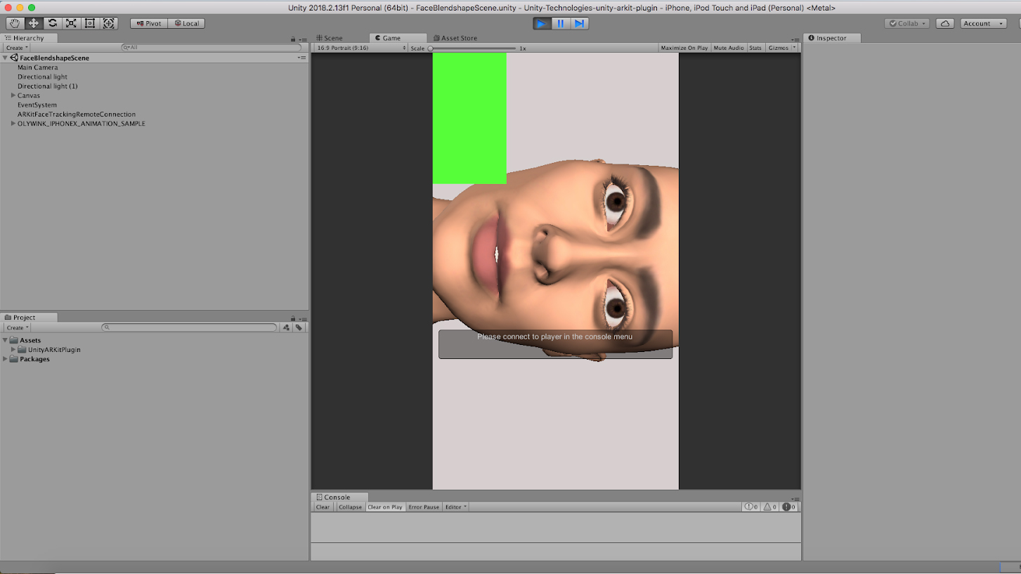 Unity Facial AR Remote - Live Face Animation with an iPhone X - Step 6