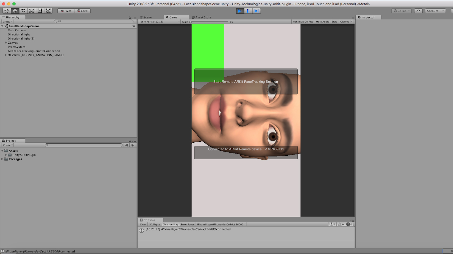 Unity Facial AR Remote - Live Face Animation with an iPhone X - Step 7