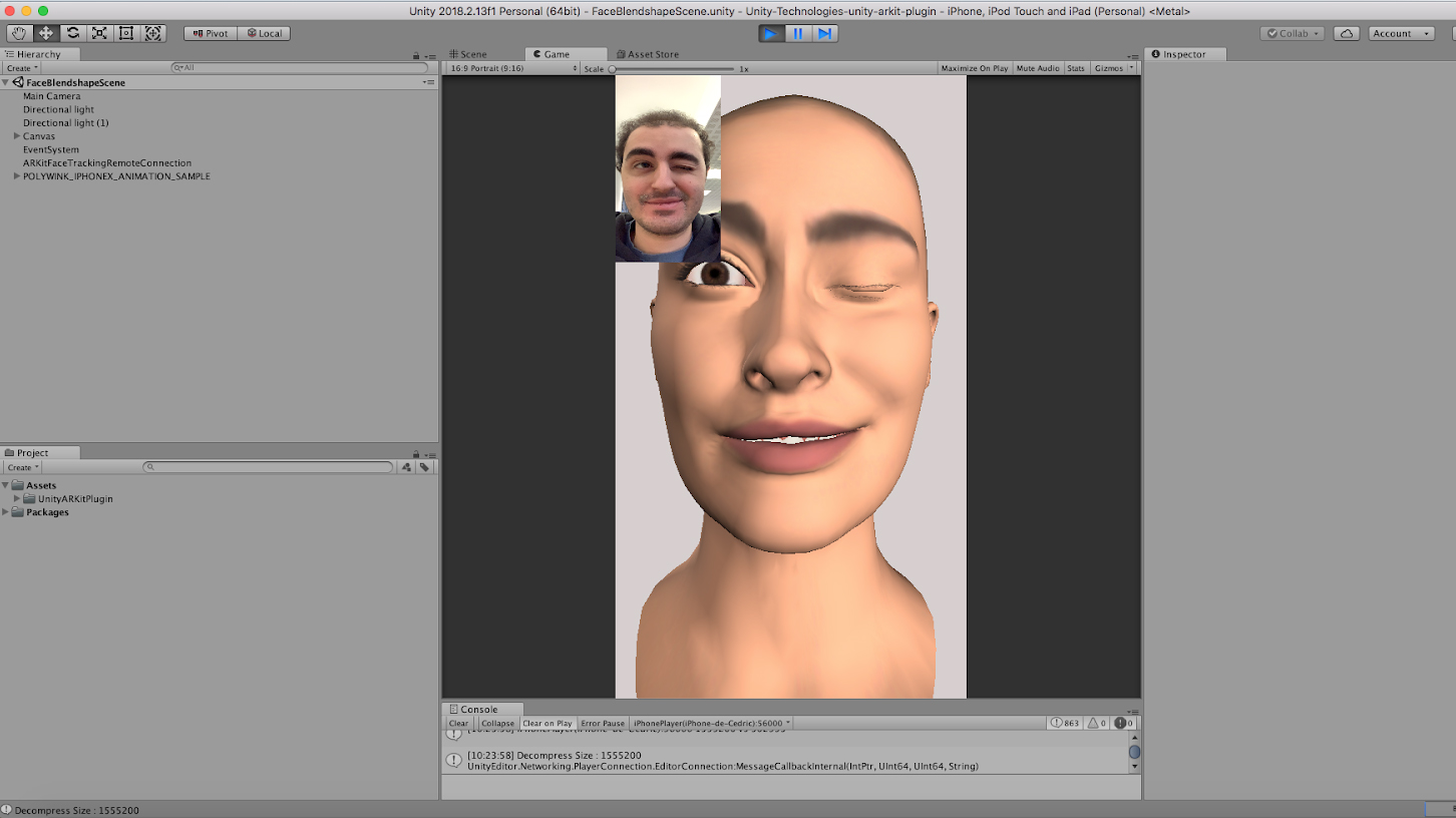 Unity Facial AR Remote - Live Face Animation with an iPhone X - Step 8